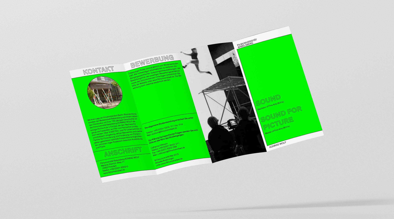 Filmuniversität Branding Proposal Flyer offen – Uthmöller und Partner