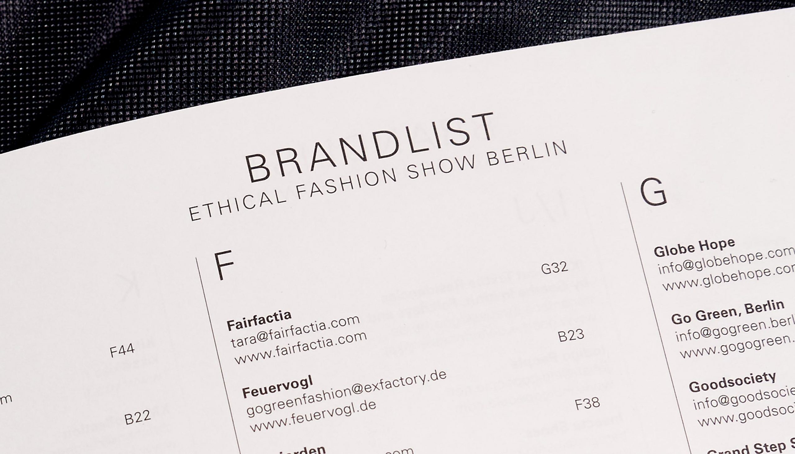 Messe Frankfurt – Ethical Fashion Show und Green Showroom Brandbook Detail Typografie 2018 Eingang – Uthmöller und Partner